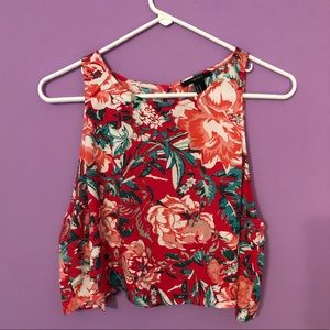 Floral Tank Top with Split Open Back